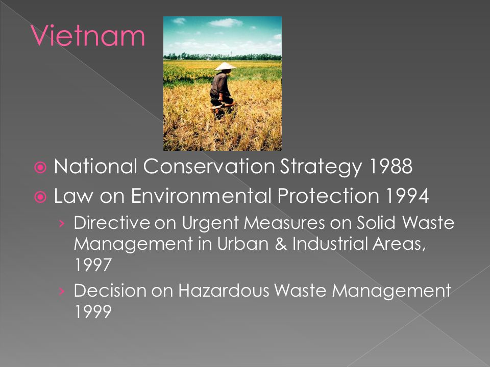  National Conservation Strategy 1988  Law on Environmental Protection 1994 › Directive on Urgent Measures on Solid Waste Management in Urban & Industrial Areas, 1997 › Decision on Hazardous Waste Management 1999