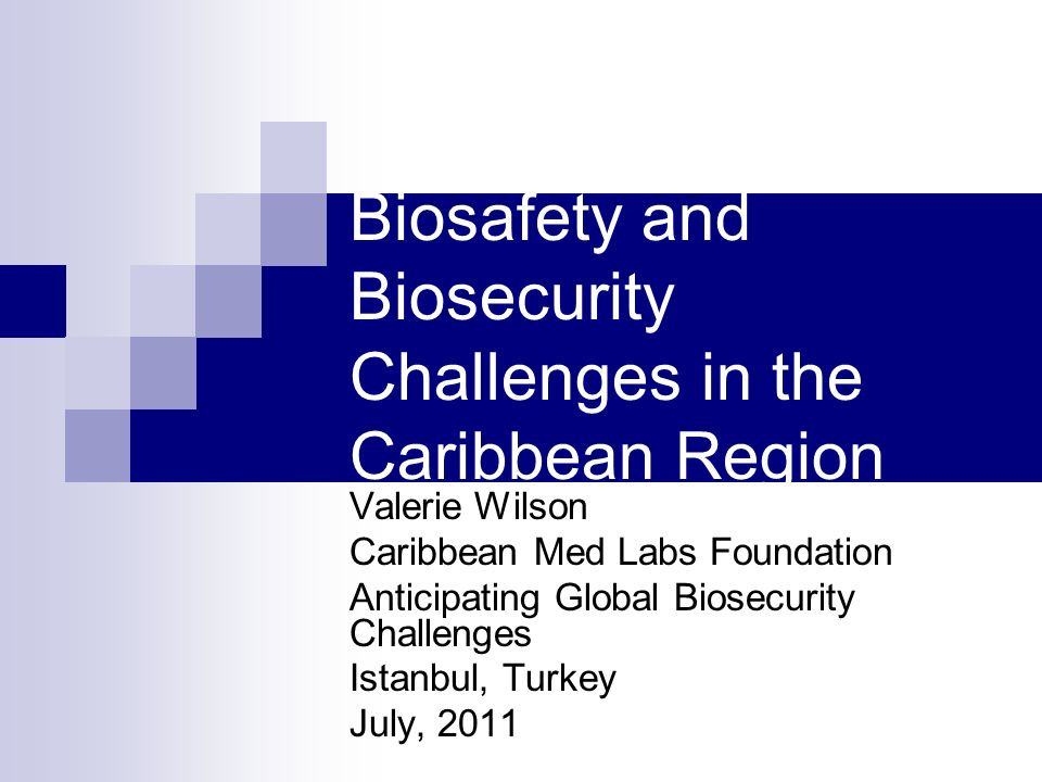 Biosafety and Biosecurity Challenges in the Caribbean Region Valerie Wilson Caribbean Med Labs Foundation Anticipating Global Biosecurity Challenges Istanbul, Turkey July, 2011