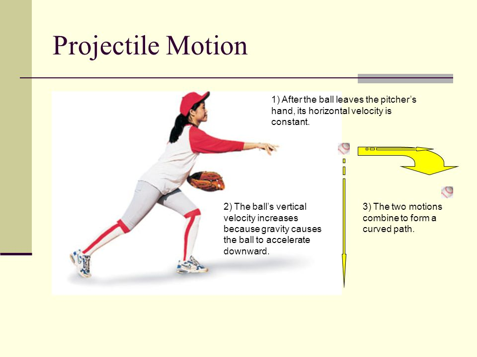 Projectile Motion 1) After the ball leaves the pitcher's hand, its horizontal velocity is constant.
