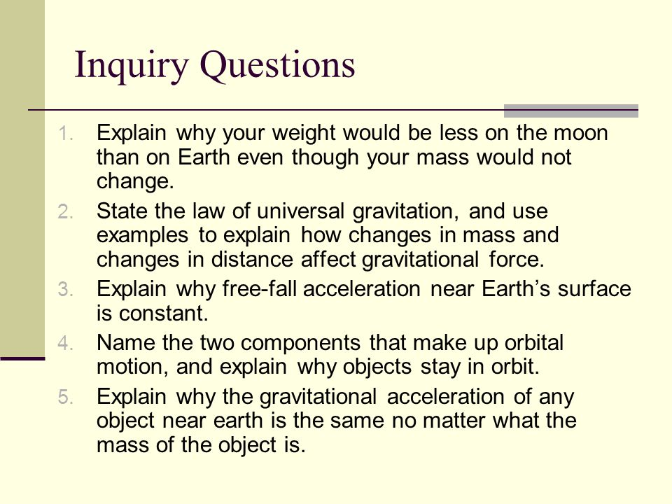 Inquiry Questions 1.