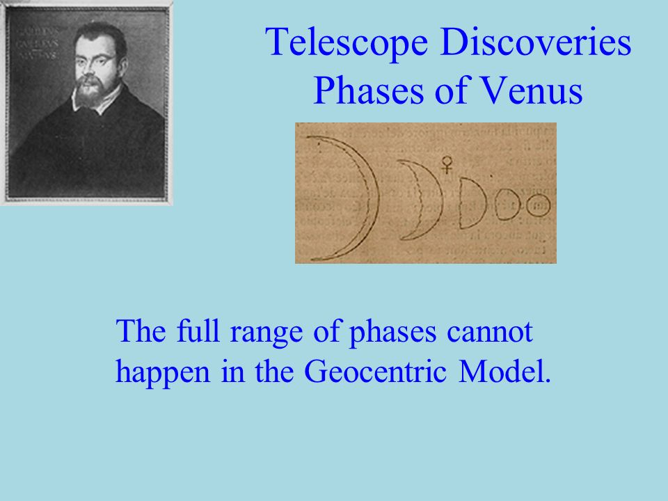 Telescope Discoveries The Moons of Jupiter g Clear example of four objects that do not orbit the Earth.