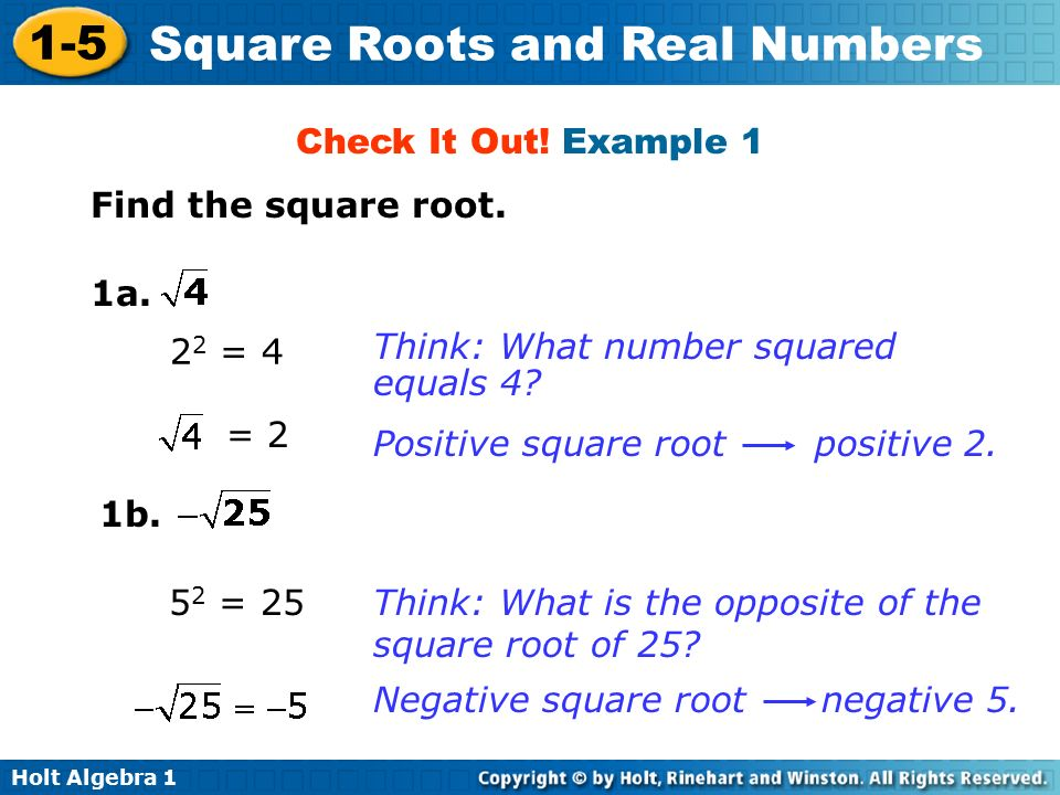 Holt Algebra Square Roots and Real Numbers Find the square root.