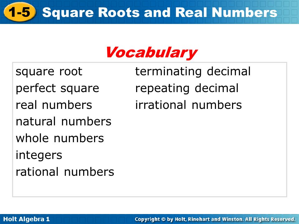 Holt Algebra Square Roots and Real Numbers square rootterminating decimal perfect square repeating decimal real numbersirrational numbers natural numbers whole numbers integers rational numbers Vocabulary