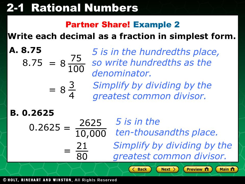 Evaluating Algebraic Expressions 2-1Rational Numbers 8.75 A.