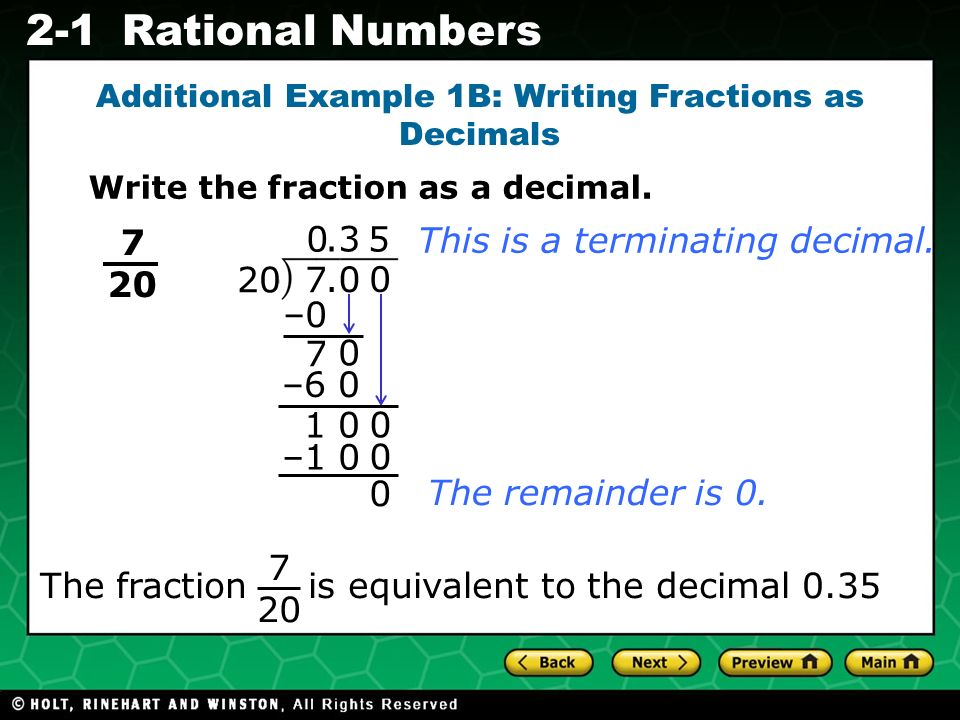 Evaluating Algebraic Expressions 2-1Rational Numbers This is a terminating decimal.
