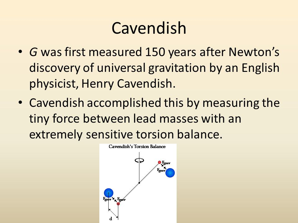Cavendish G was first measured 150 years after Newton's discovery of universal gravitation by an English physicist, Henry Cavendish.