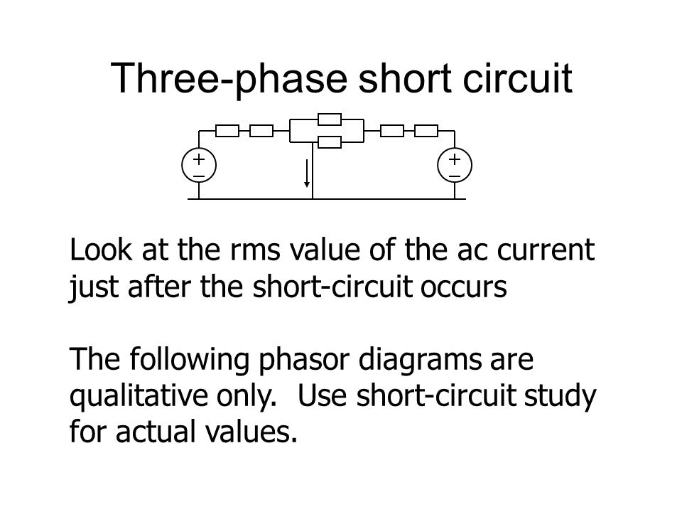 Three-phase short circuit Look at the rms value of the ac current just after the short-circuit occurs The following phasor diagrams are qualitative only.