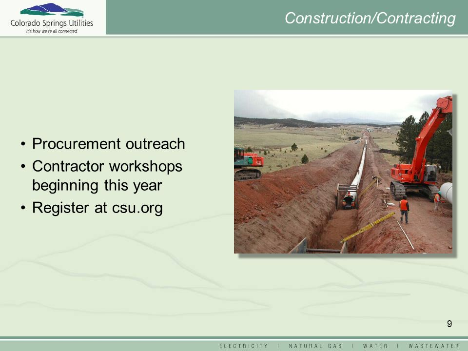 9 Procurement outreach Contractor workshops beginning this year Register at csu.org Construction/Contracting