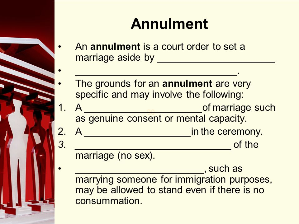 No sex in marriage annullment