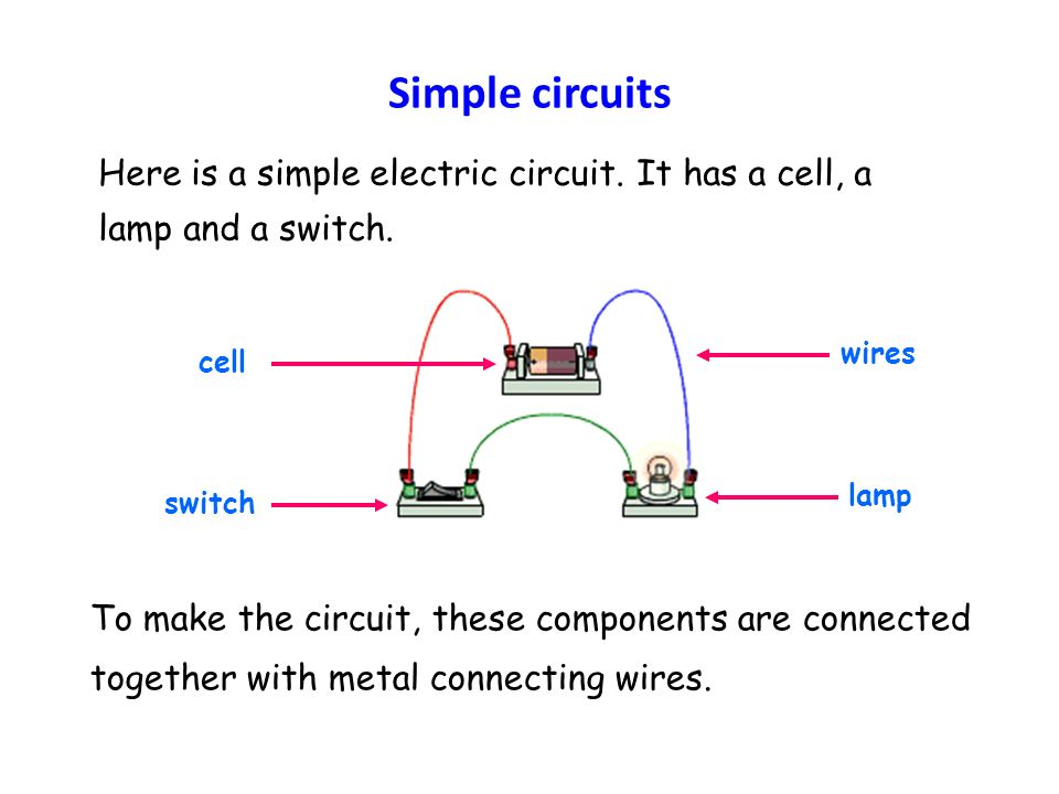 Simple circuits Here is a simple electric circuit.