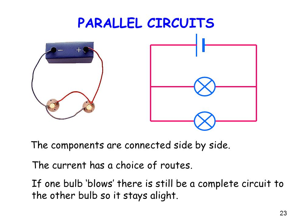 23 PARALLEL CIRCUITS The current has a choice of routes.
