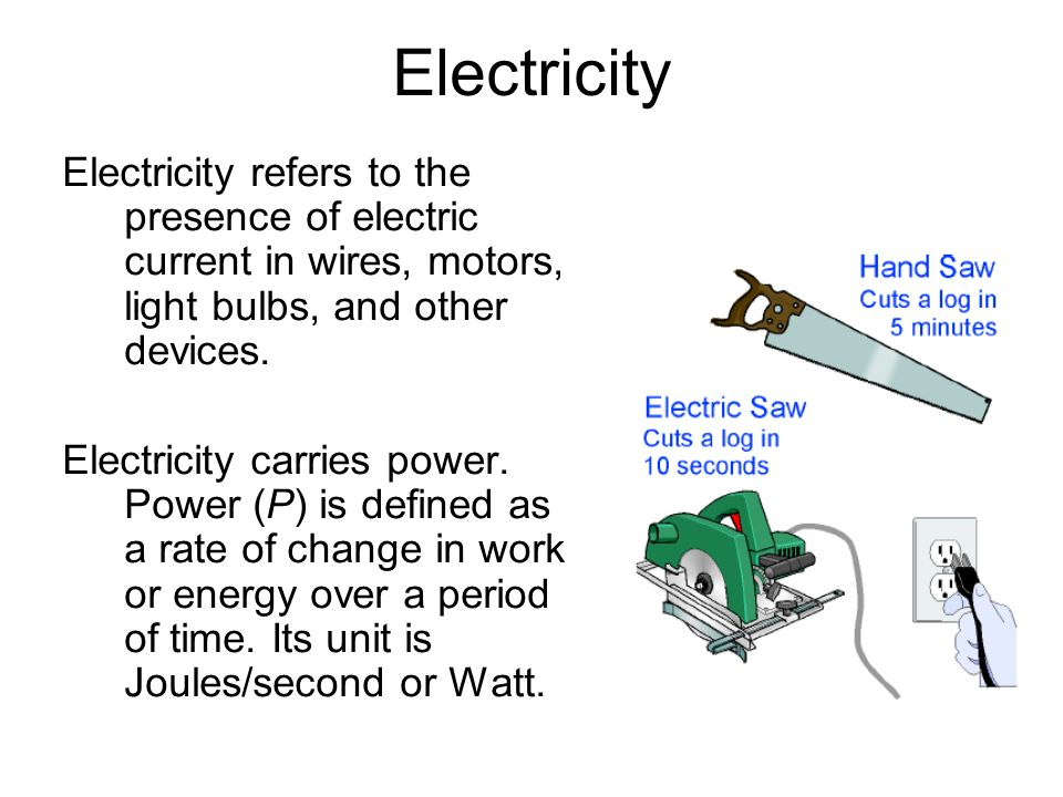 Electricity Electricity refers to the presence of electric current in wires, motors, light bulbs, and other devices.