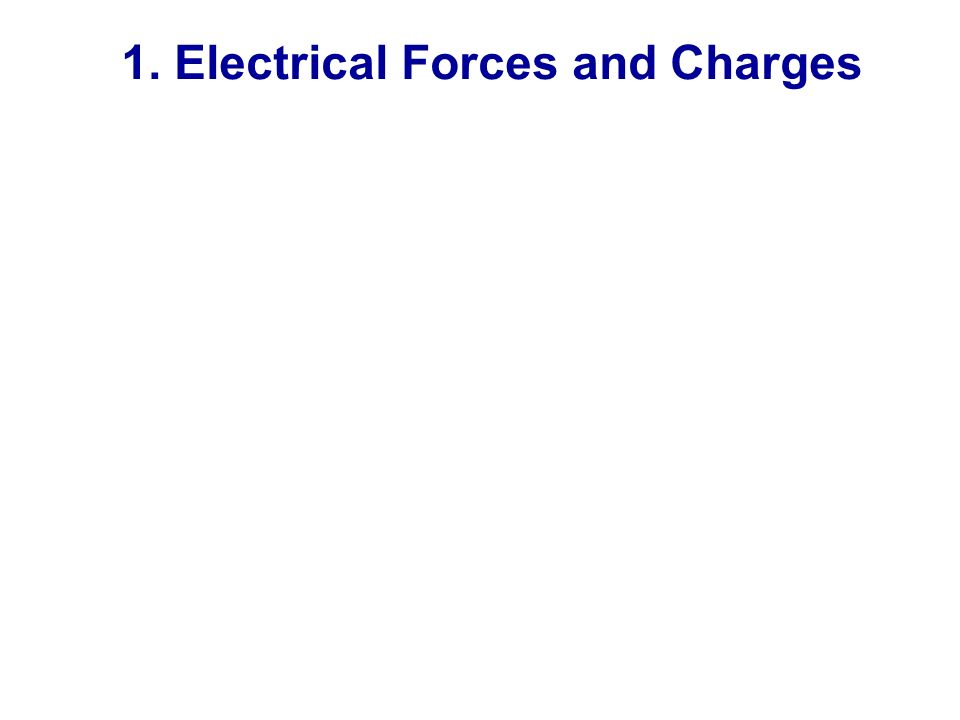 1. Electrical Forces and Charges