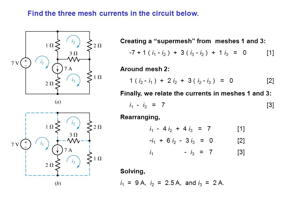 Find the three mesh currents in the circuit below.