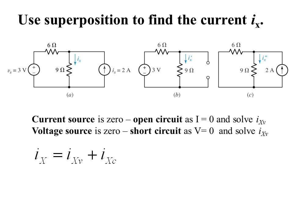 Use superposition to find the current i x.