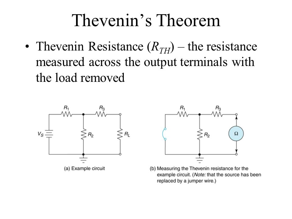Thevenin's Theorem Thevenin Resistance (R TH ) – the resistance measured across the output terminals with the load removed