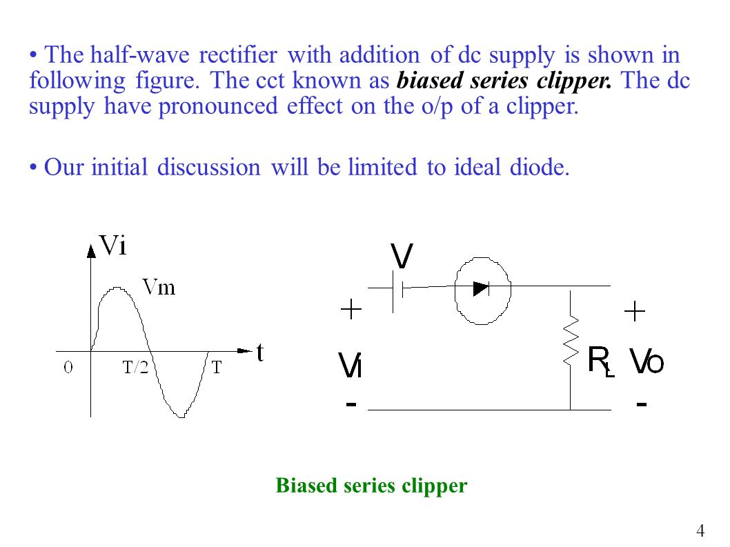 Clippers Clampers Zener Diode Application Or In A Circuit Like The Diagram Below Half Wave Rectifier With Addition Of Dc Supply Is Shown Following Figure