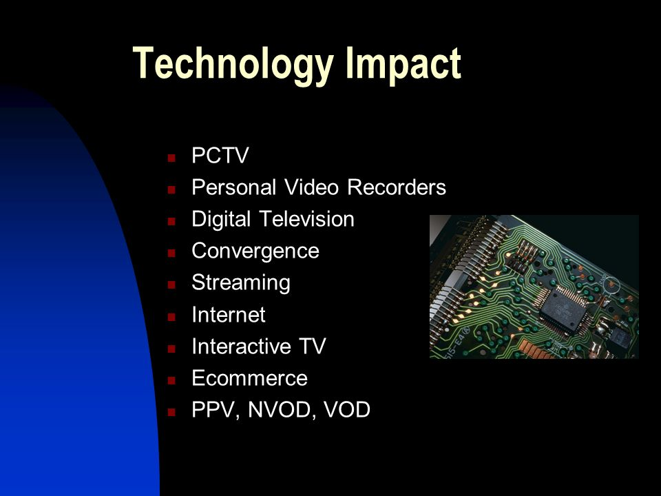 Technology Impact PCTV Personal Video Recorders Digital Television Convergence Streaming Internet Interactive TV Ecommerce PPV, NVOD, VOD