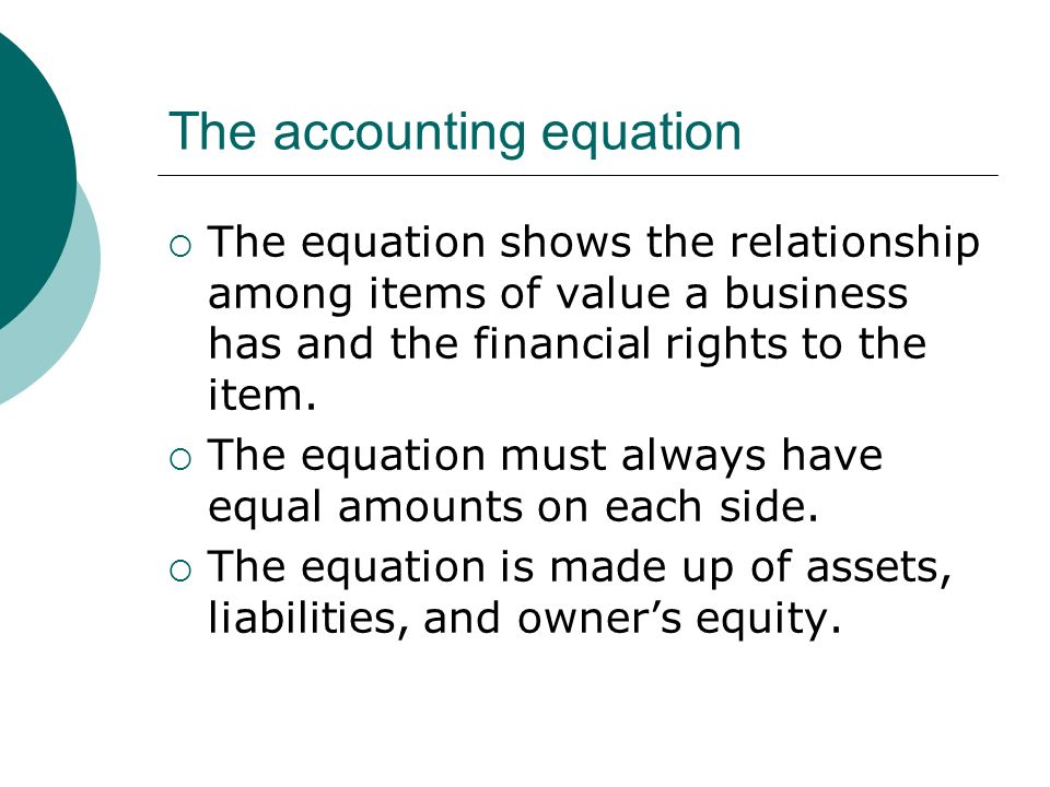 The accounting equation  The equation shows the relationship among items of value a business has and the financial rights to the item.