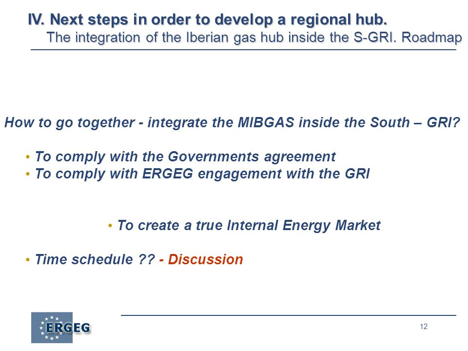 12 How to go together - integrate the MIBGAS inside the South – GRI.