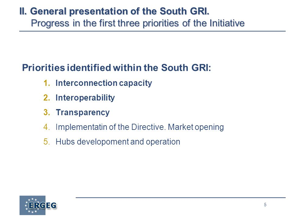 5 Priorities identified within the South GRI: 1.Interconnection capacity 2.Interoperability 3.Transparency 4.Implementatin of the Directive.