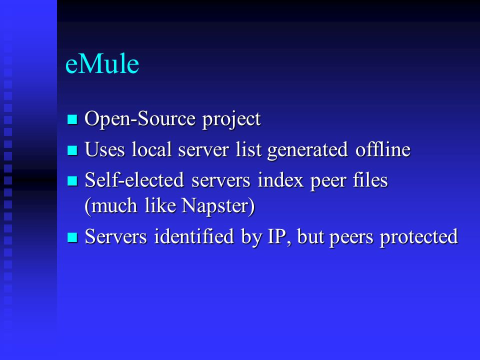 A Survey of P2P Filesharing Applications James Kirk CS
