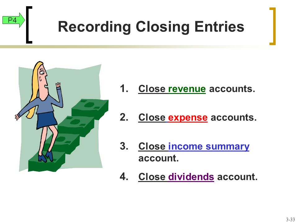 1. Close revenue accounts. 2. Close expense accounts.