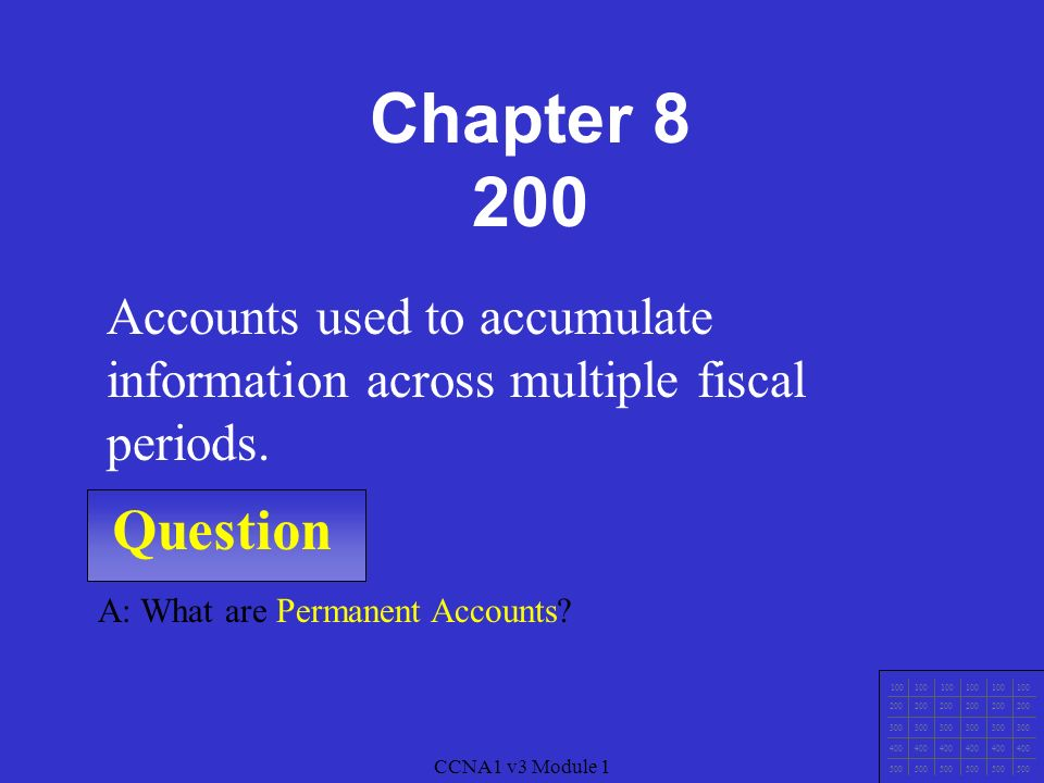 CCNA1 v3 Module 1 Question CCNA1 v3 Module 1 A: What are Temporary Accounts.