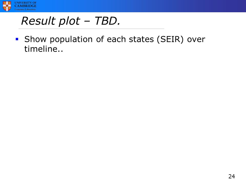 Result plot – TBD. 24  Show population of each states (SEIR) over timeline..