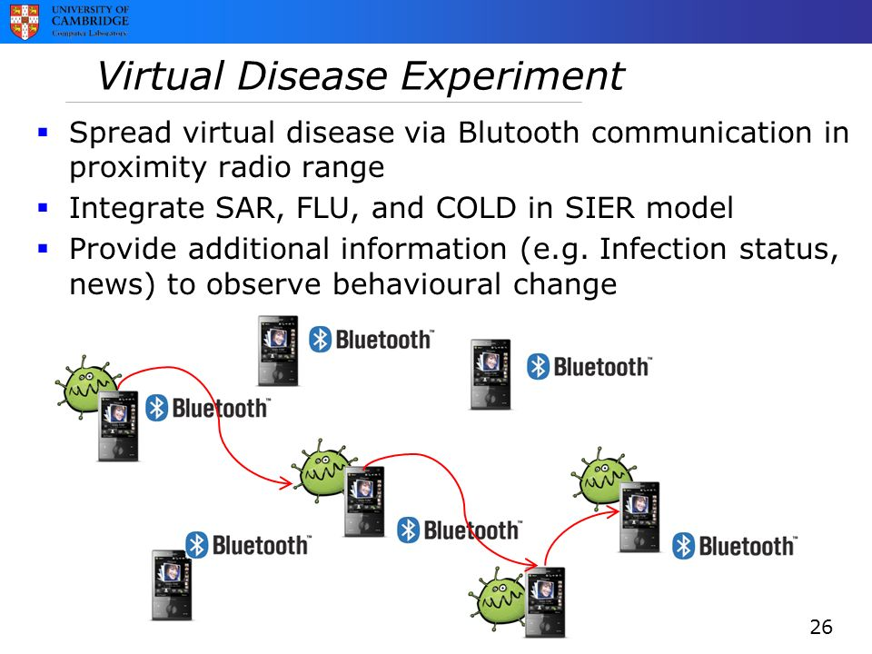 Virtual Disease Experiment  Spread virtual disease via Blutooth communication in proximity radio range  Integrate SAR, FLU, and COLD in SIER model  Provide additional information (e.g.