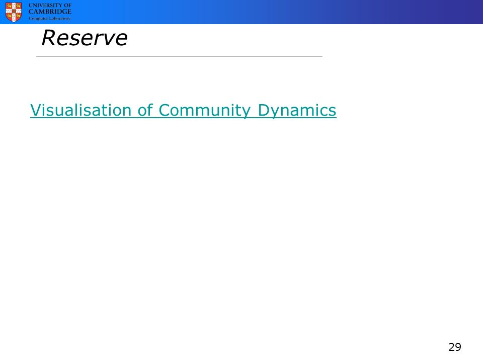 Reserve Visualisation of Community Dynamics 29