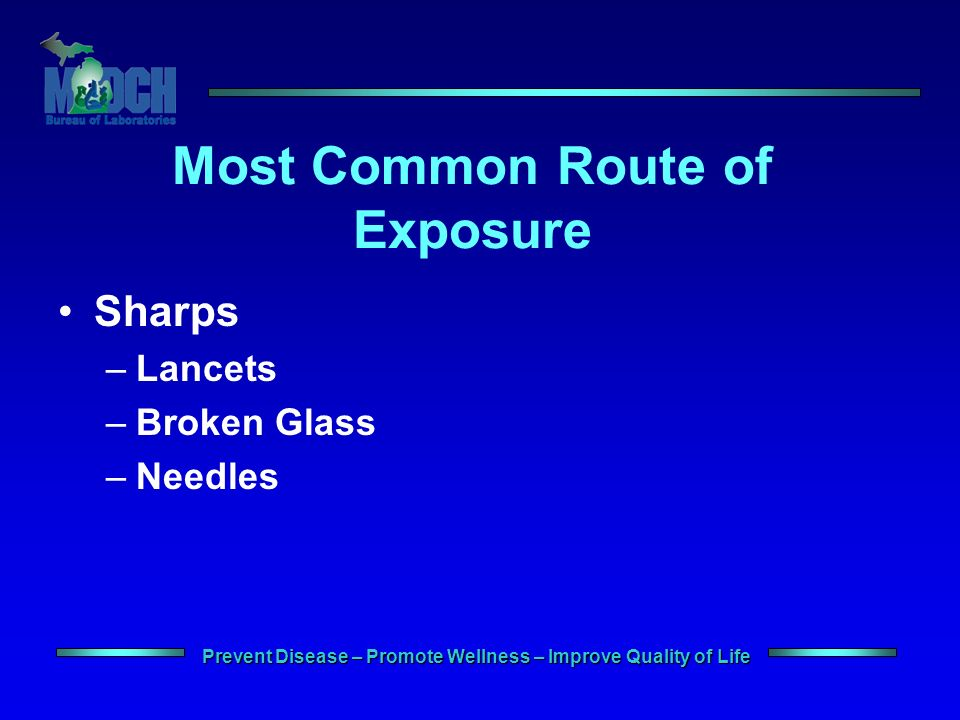 Prevent Disease – Promote Wellness – Improve Quality of Life Most Common Route of Exposure Sharps –Lancets –Broken Glass –Needles