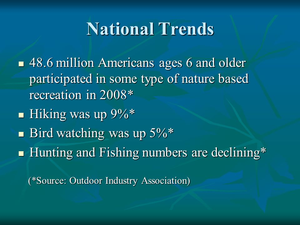 National Trends 48.6 million Americans ages 6 and older participated in some type of nature based recreation in 2008* 48.6 million Americans ages 6 and older participated in some type of nature based recreation in 2008* Hiking was up 9%* Hiking was up 9%* Bird watching was up 5%* Bird watching was up 5%* Hunting and Fishing numbers are declining* Hunting and Fishing numbers are declining* (*Source: Outdoor Industry Association) (*Source: Outdoor Industry Association)