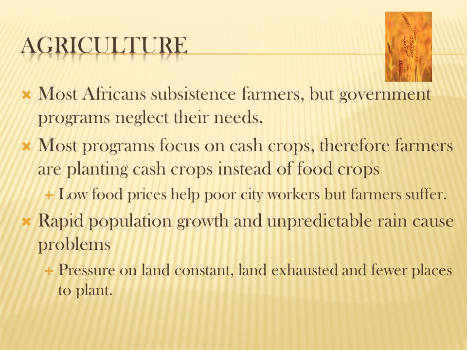  Most Africans subsistence farmers, but government programs neglect their needs.