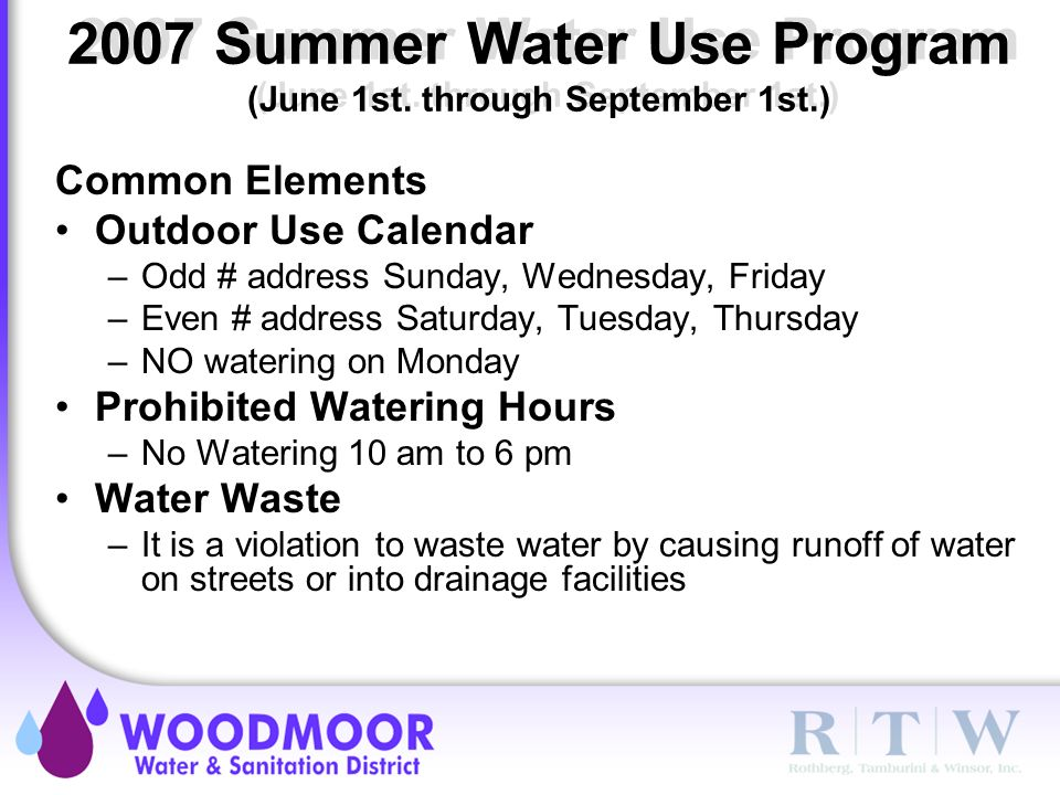 2007 Summer Water Use Program (June 1st.