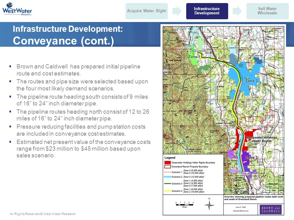 All Rights Reserved © West Water ResearchConfidential and Proprietary Information Infrastructure Development: Conveyance (cont.)  Brown and Caldwell has prepared initial pipeline route and cost estimates.