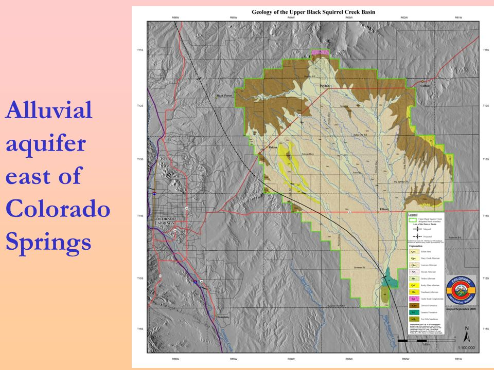 Alluvial aquifer east of Colorado Springs