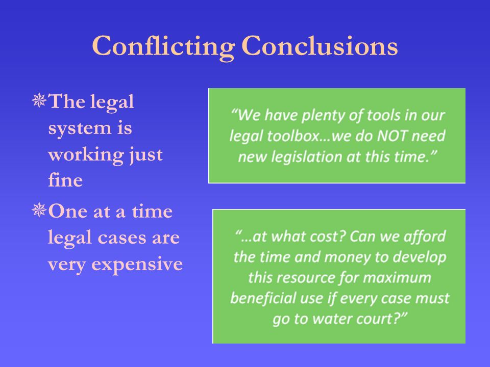 Conflicting Conclusions  The legal system is working just fine  One at a time legal cases are very expensive