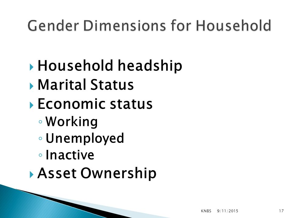  Household headship  Marital Status  Economic status ◦ Working ◦ Unemployed ◦ Inactive  Asset Ownership 9/11/2015KNBS17