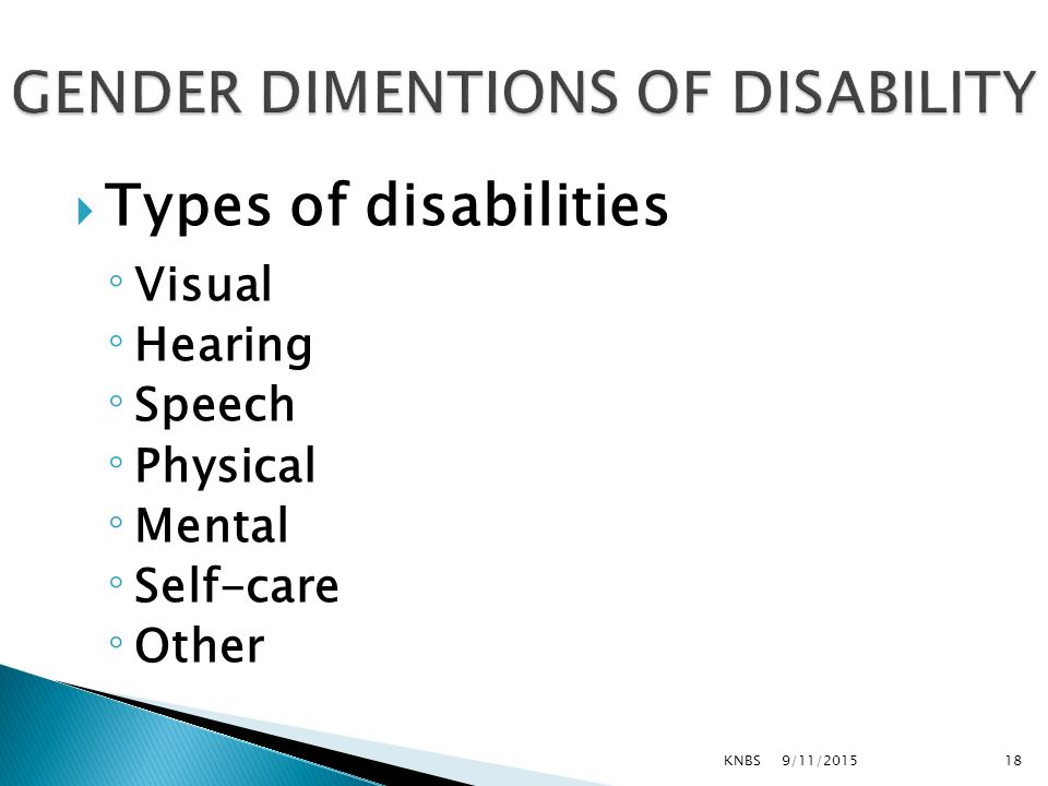  Types of disabilities ◦Visual ◦Hearing ◦Speech ◦Physical ◦Mental ◦Self-care ◦Other 9/11/2015KNBS18