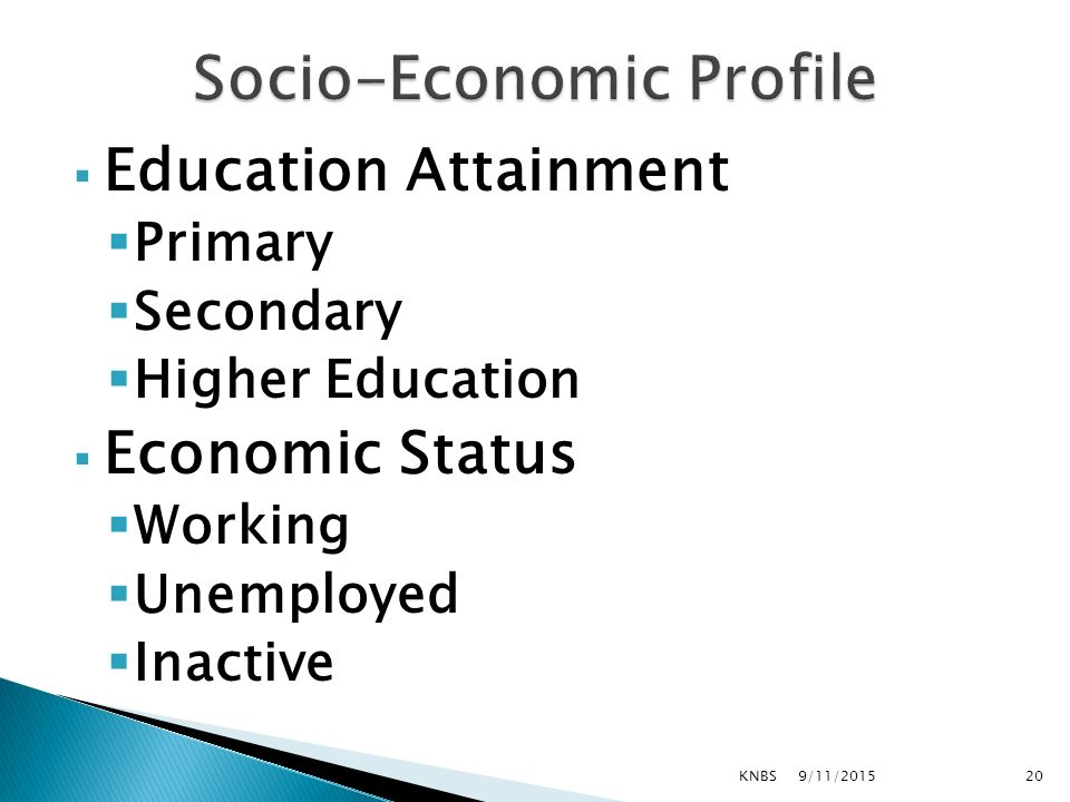  Education Attainment  Primary  Secondary  Higher Education  Economic Status  Working  Unemployed  Inactive 9/11/2015KNBS20