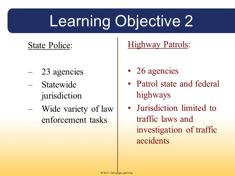 © 2011 Cengage Learning Learning Objective 2 State Police: –23 agencies –Statewide jurisdiction –Wide variety of law enforcement tasks Highway Patrols: 26 agencies Patrol state and federal highways Jurisdiction limited to traffic laws and investigation of traffic accidents