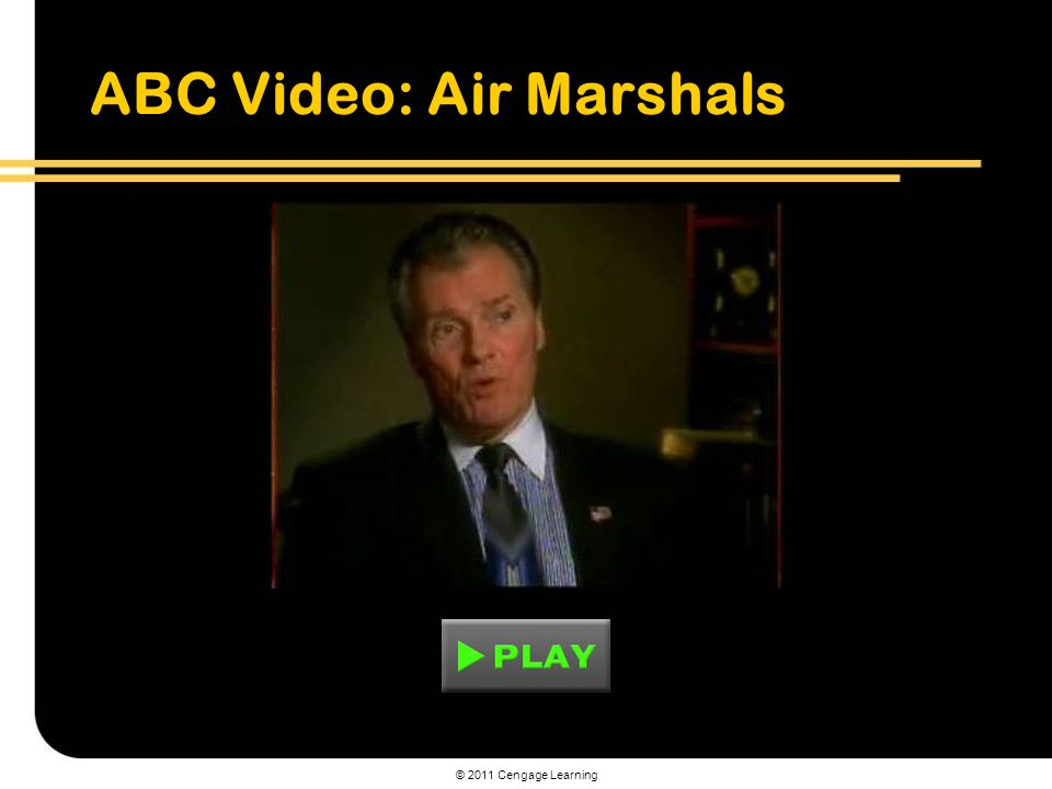 © 2011 Cengage Learning ABC Video: Air Marshals