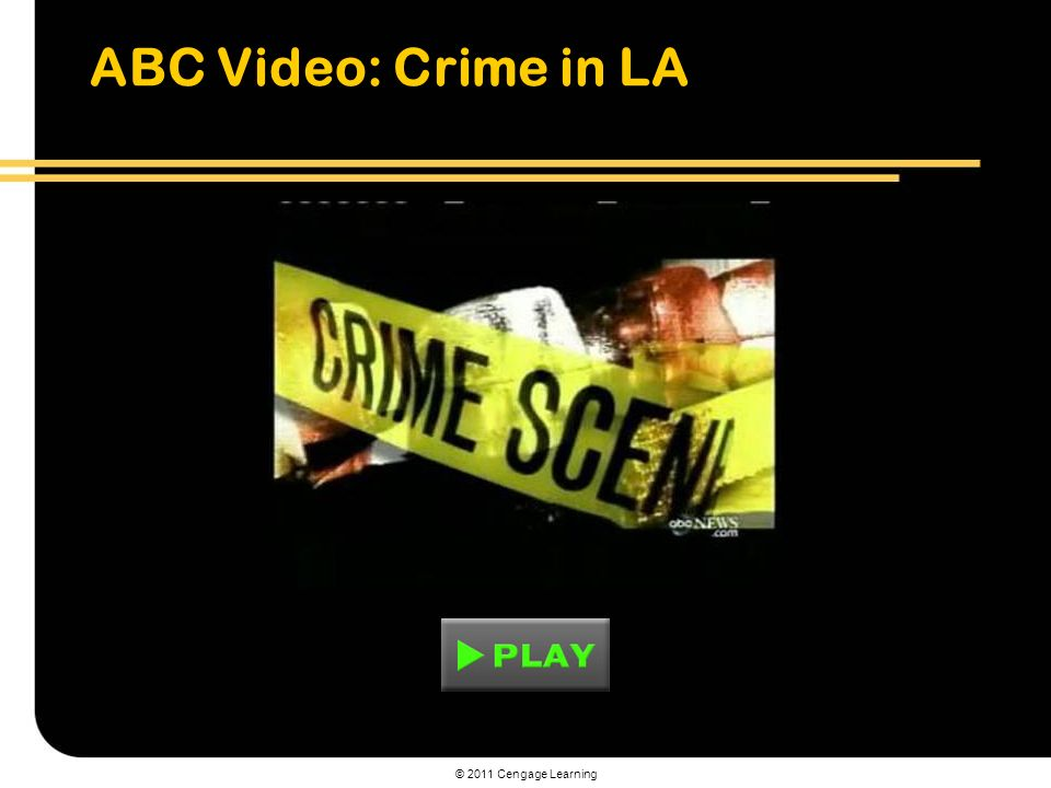 © 2011 Cengage Learning ABC Video: Crime in LA