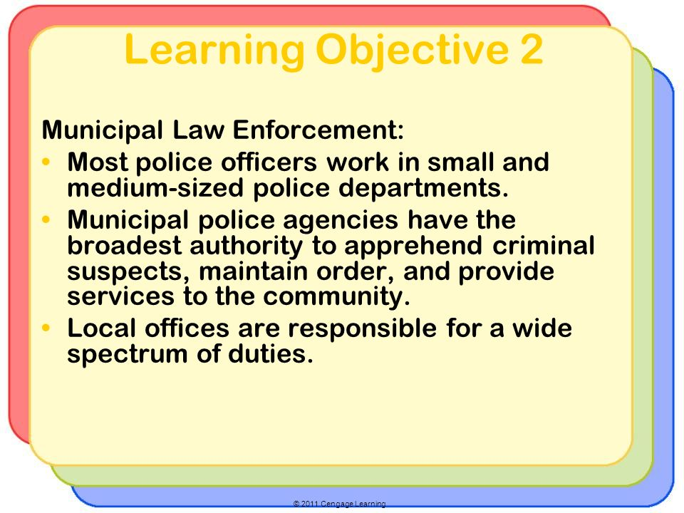© 2011 Cengage Learning Learning Objective 2 Municipal Law Enforcement: Most police officers work in small and medium-sized police departments.