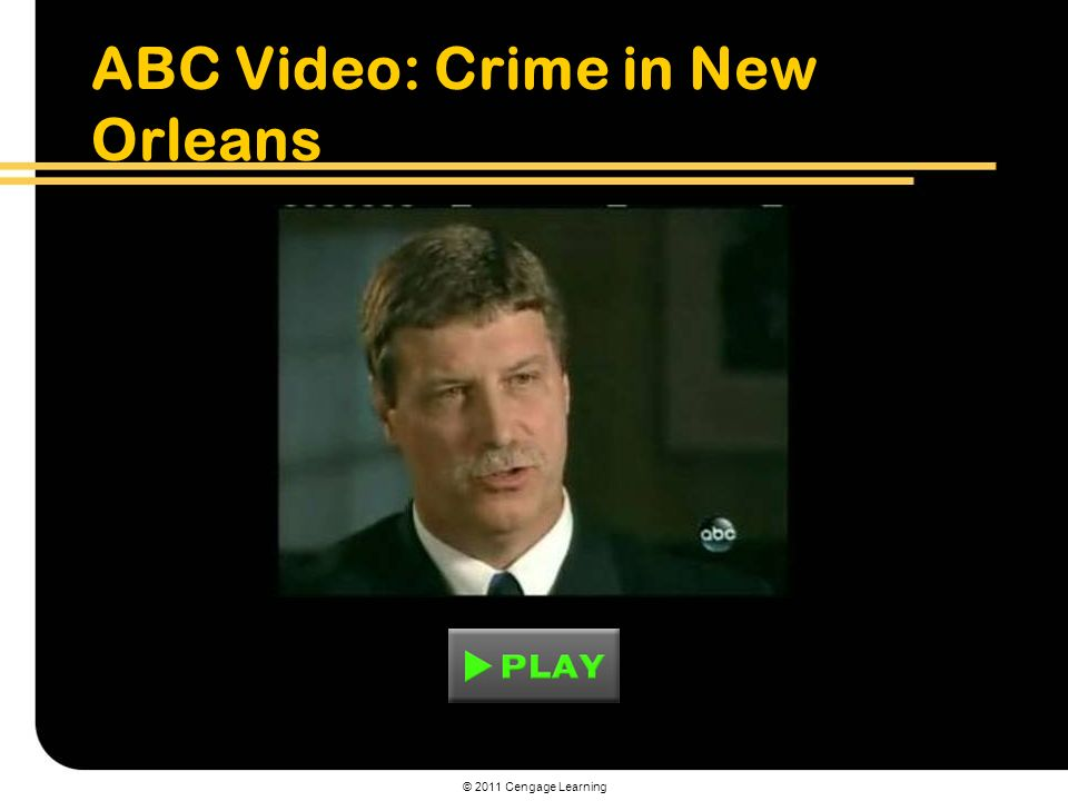 © 2011 Cengage Learning ABC Video: Crime in New Orleans