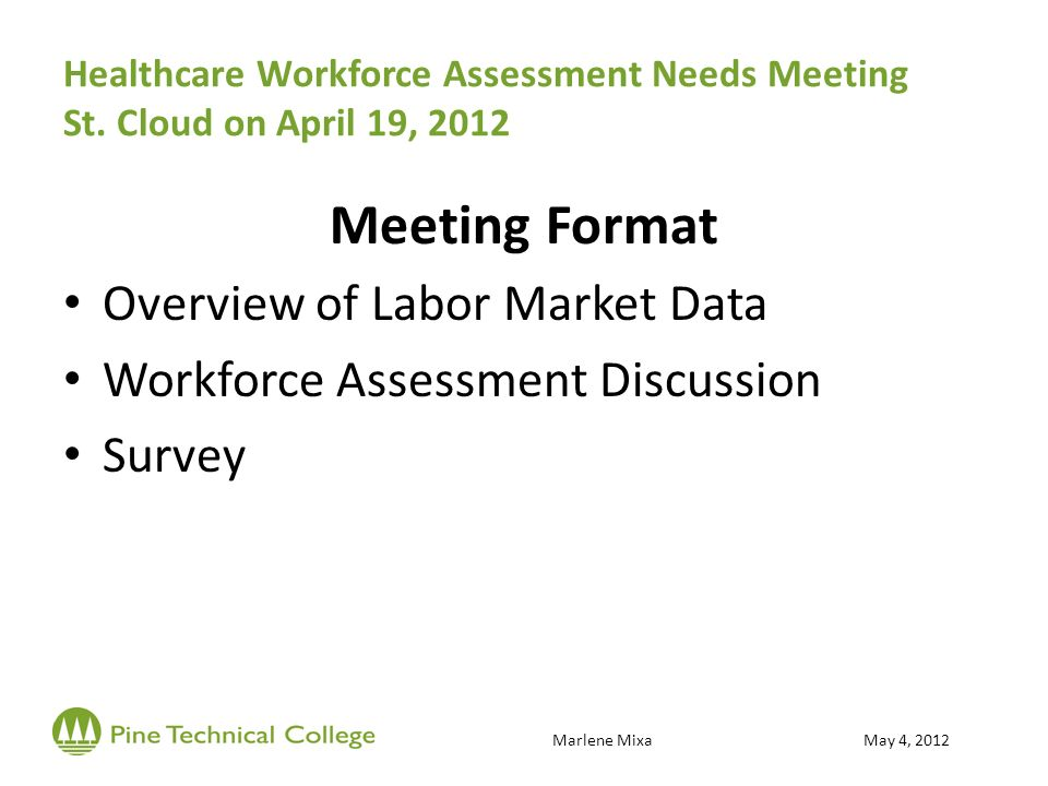 Healthcare Workforce Assessment Needs Meeting St.