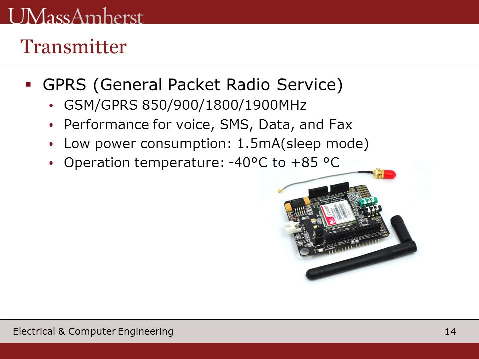 14 Electrical & Computer Engineering Transmitter  GPRS (General Packet Radio Service) GSM/GPRS 850/900/1800/1900MHz Performance for voice, SMS, Data, and Fax Low power consumption: 1.5mA(sleep mode) Operation temperature: -40°C to +85 °C