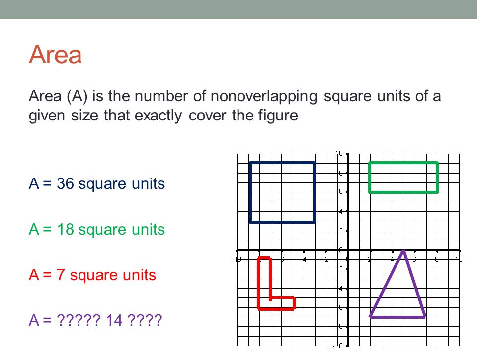 Area Area (A) is the number of nonoverlapping square units of a given size that exactly cover the figure A = 36 square units A = 18 square units A = 7 square units A = .
