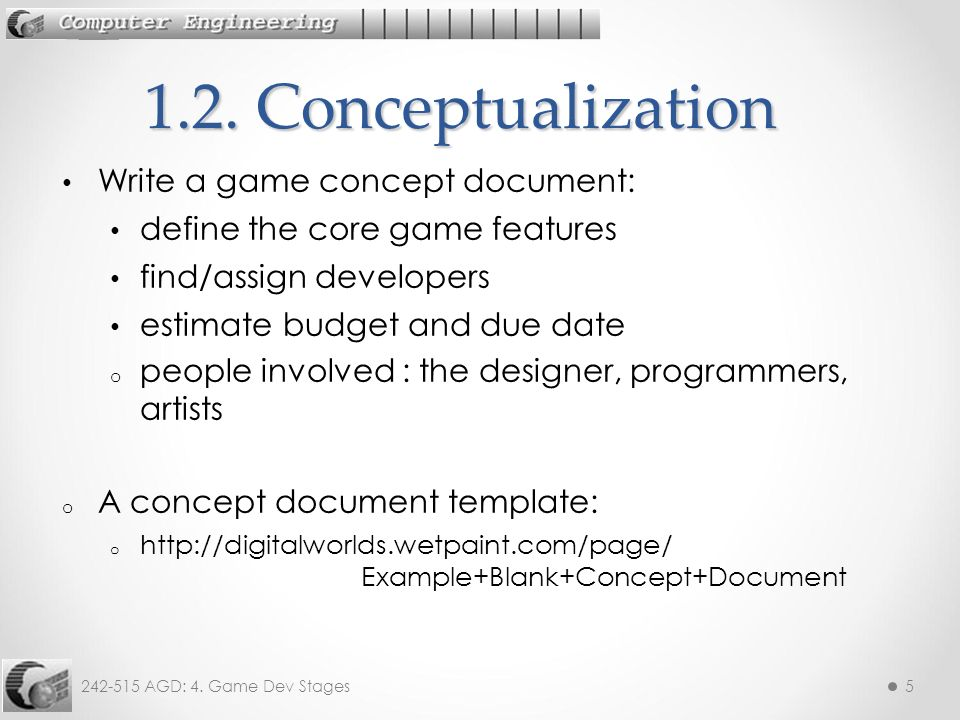 AGD Game Dev Stages Objective To Look At The Stages In - Game concept document example